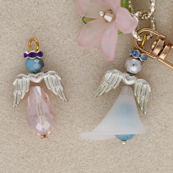 Engelsflügel im tibetischen Stil mit Herz – Farbe Silber