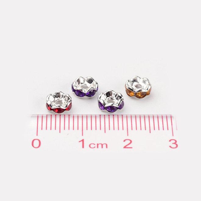 Abstandshalter – Spacer Perlen mit Acryl-Strasssteinen
