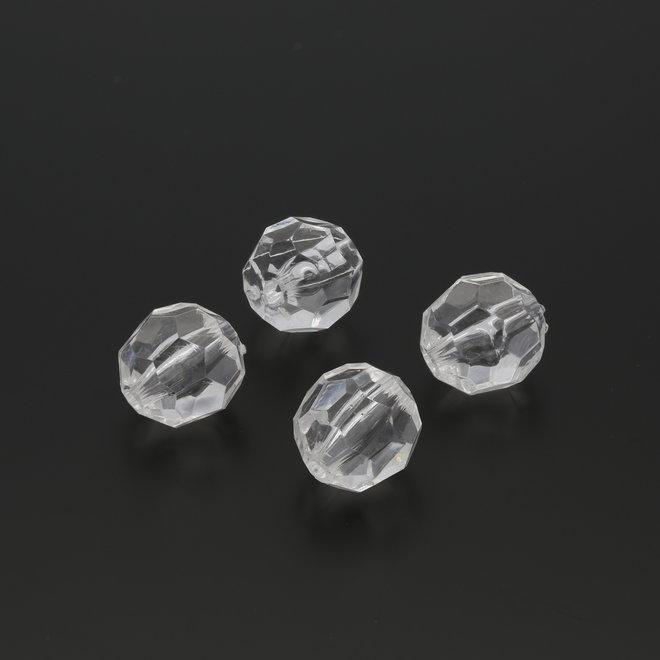 Facettierte runde Acrylperle - 14 mm - Transparent