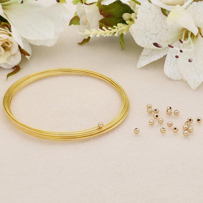 Abschluss-Perle für Memory Wire - 3 mm - Gold