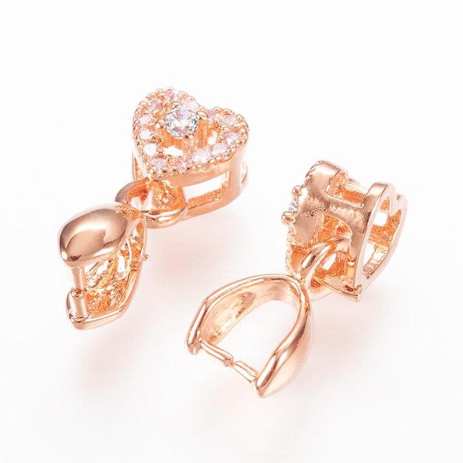 Bélière, attache-pendentifs forme de cœur - Micro Pavé Cubic Zirconia