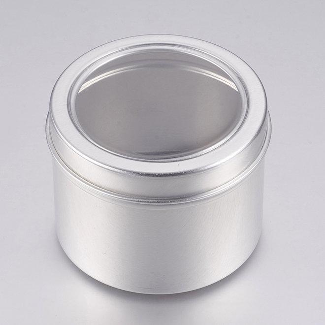 Contenitore in alluminio con coperchio e finestra trasparente – Ø 60 mm