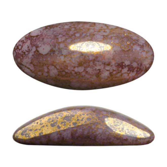 Cabochon Athos 3D par Puca® 20 x 10 mm - Opaque Amethyst Bronze (2 Stk.)