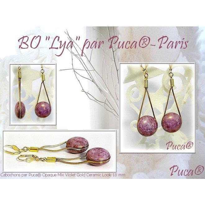 Cabochon par Puca® - 25 mm - Opaque Mix Violet/Gold Ceramic Look