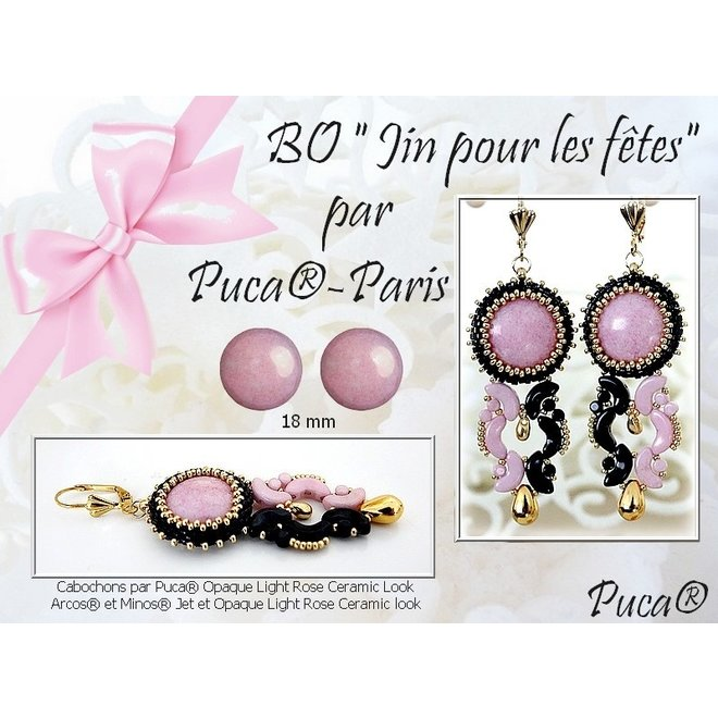 Cabochon par Puca® - 25 mm - Opaque Mix Rose/Gold Ceramic Look