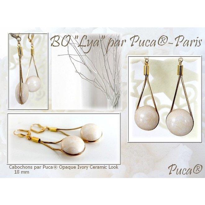 Cabochon par Puca® - 18 mm - Opaque Ivory Ceramic Look