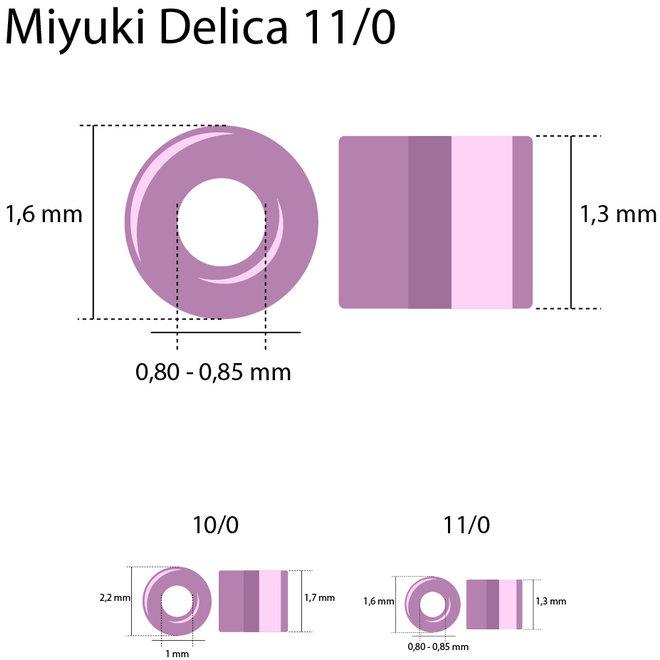 Delica 11/0 – DB2381 – Fancy Lined Aqua Green