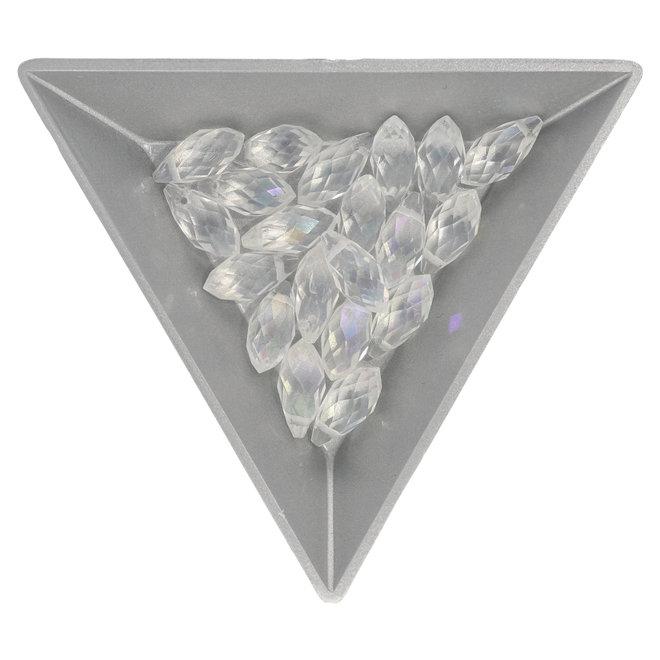 Briolette Glasperlen mit seitlichem Loch - Crystal AB