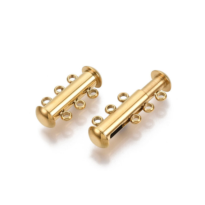Edelstahl Schiebeverschluss für 3 Stränge – Farbe Gold