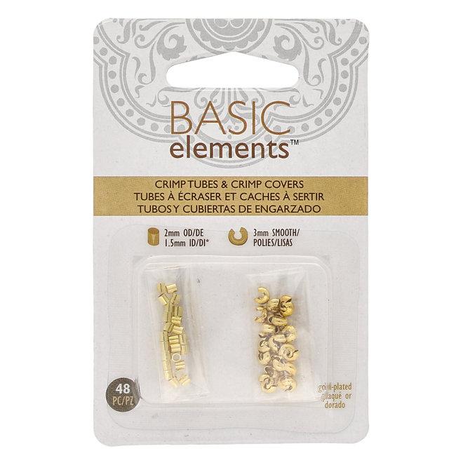 Basic Elements™ - Rohr Quetschperlen und Kaschierperlen - gold