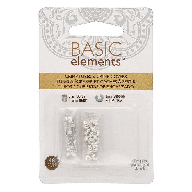Basic Elements™ - Rohr Quetschperlen und Kaschierperlen - silber