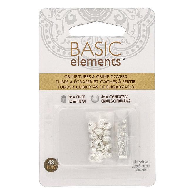 Basic Elements™ - Rohr Quetschperlen und Kaschierperlen (gewellt) - silber