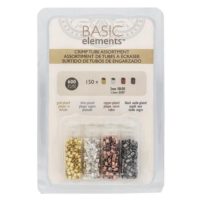 Basic Elements™ Quetschperlen (Rohr) 2 mm - Sortiert