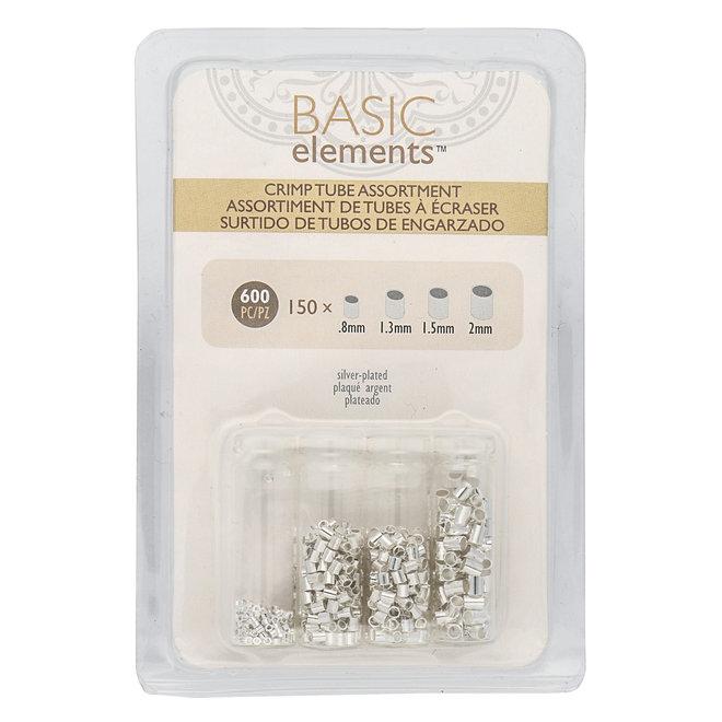 Basic Elements™ Quetschperlen (Rohr) – Sortiert - versilbert