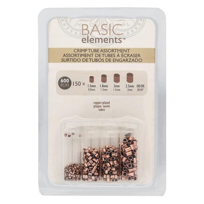 Basic Elements™ Quetschperlen (Rohr) – Sortiert - verkupfert