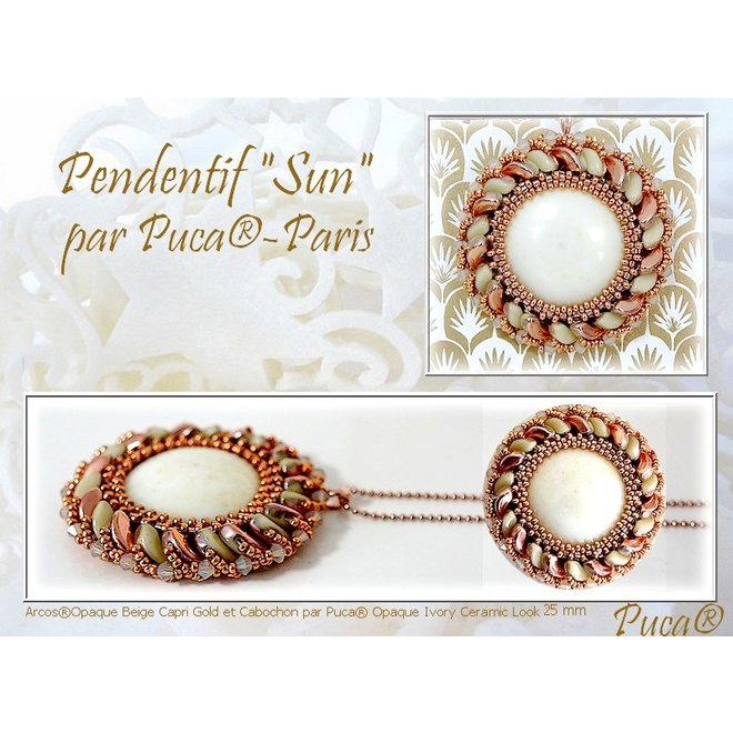 Cabochon par Puca® - 25 mm - Opaque Ivory Spotted