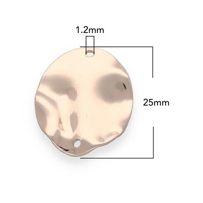 Gehämmertes ovales Verbindungselement - 25 x 20 mm - Rose Gold