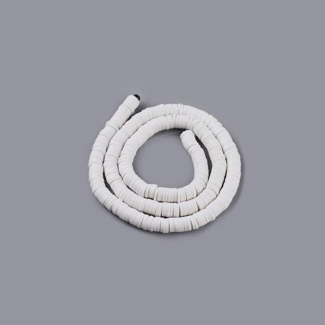 Perline Heishi in pasta polimerica (Fimo) fatte a mano – 6 mm – White