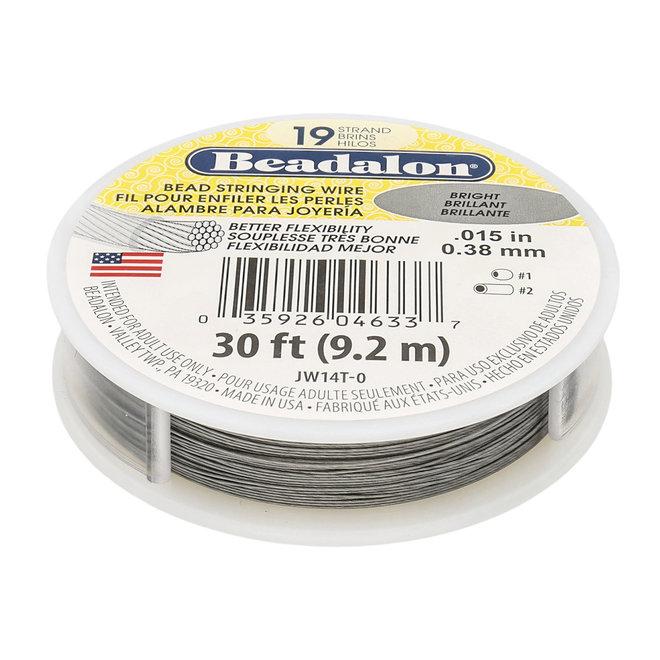 19-fadiges Beadalon-Stahlkabel - Bright - 9,2 m Spule