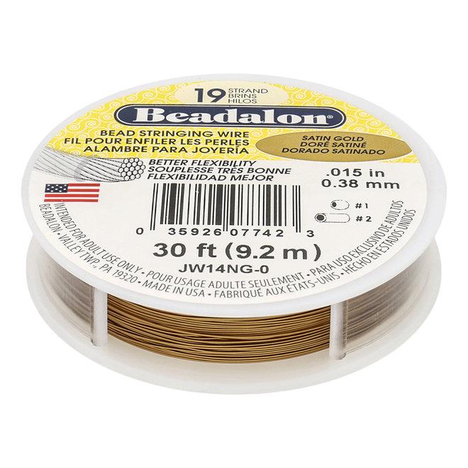 19-fadiges Beadalon-Stahlkabel - Satin Gold - 9,2 m Spule