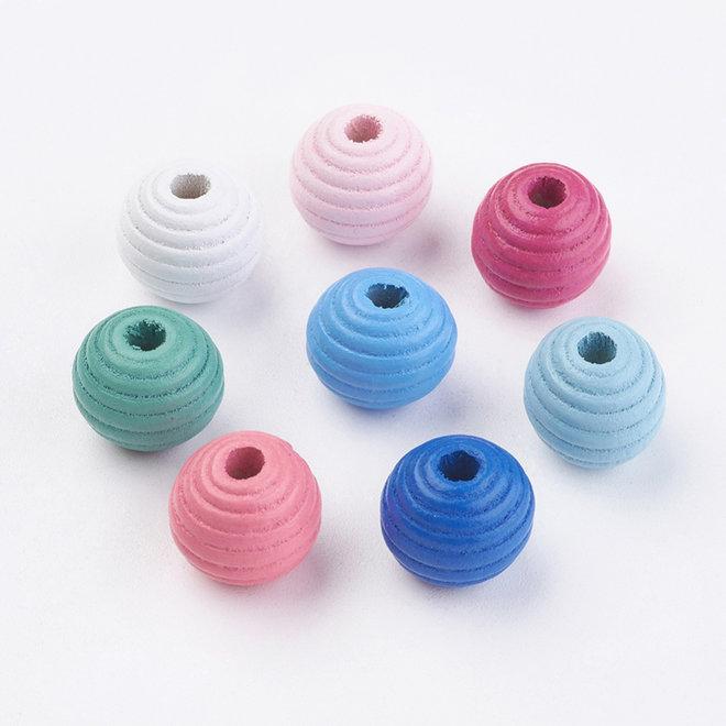 Ahornholzperle, getönt - 14x14 mm - Farben-Mix