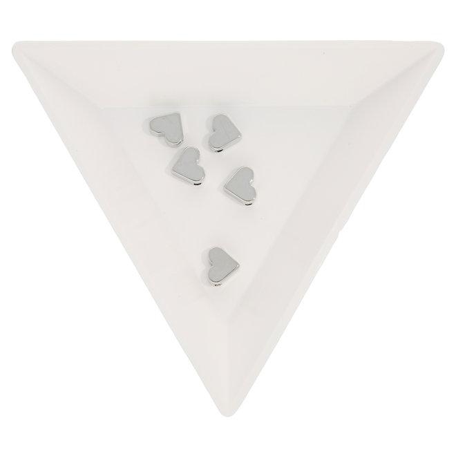 Perlina metallica a forma di cuore 6 x 7 mm  (5 pz.)