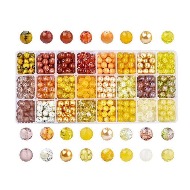 Box mit Sortiment von 24 runden Glasperlen 8 mm - Yellow mix