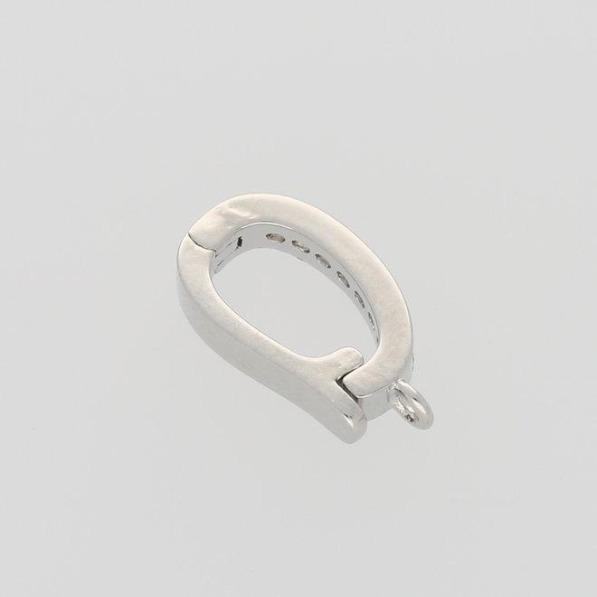 Anhängerschlaufe Snap-on - Micro Pavé Cubic Zirconia - platin