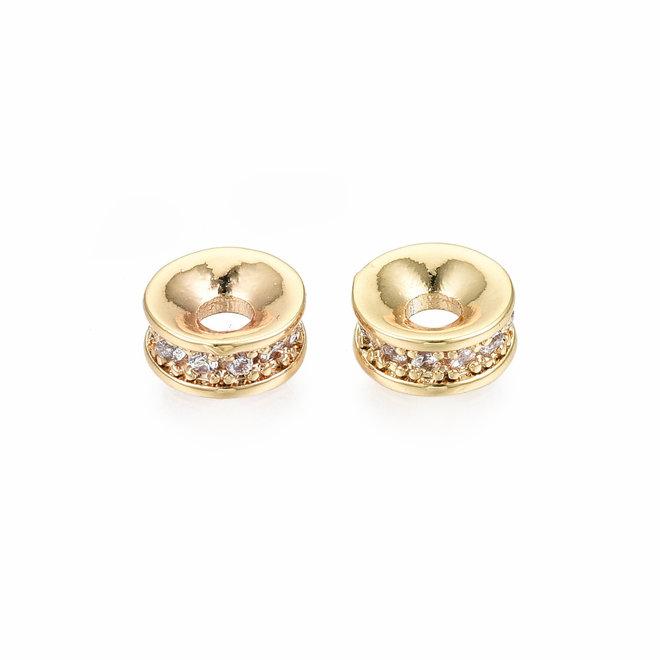 Cubic Zirkonia Spacer Perle – vergoldet