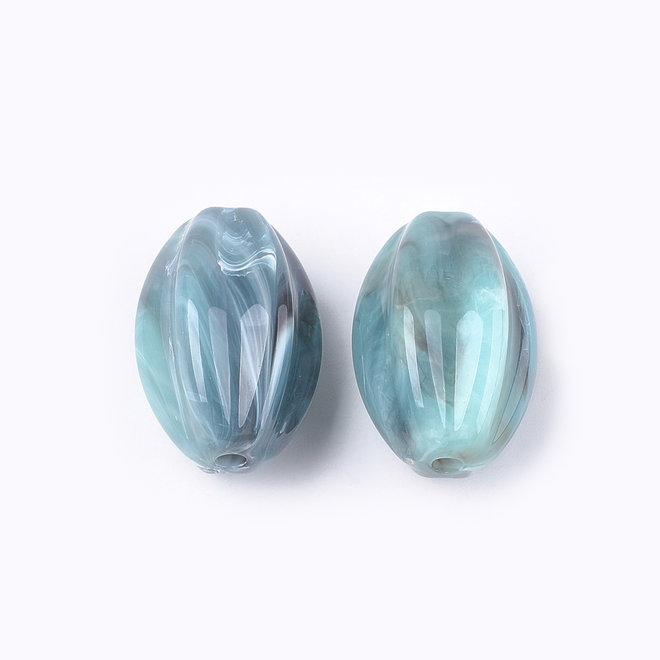 Acryl-Perle gewellt, oval - Hellblau