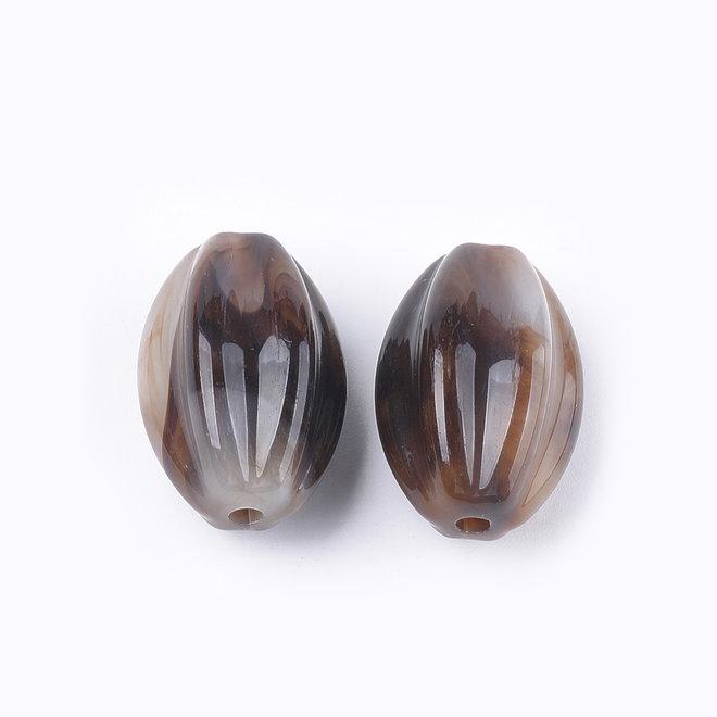 Acryl-Perle gewellt, oval - Coconut Brown