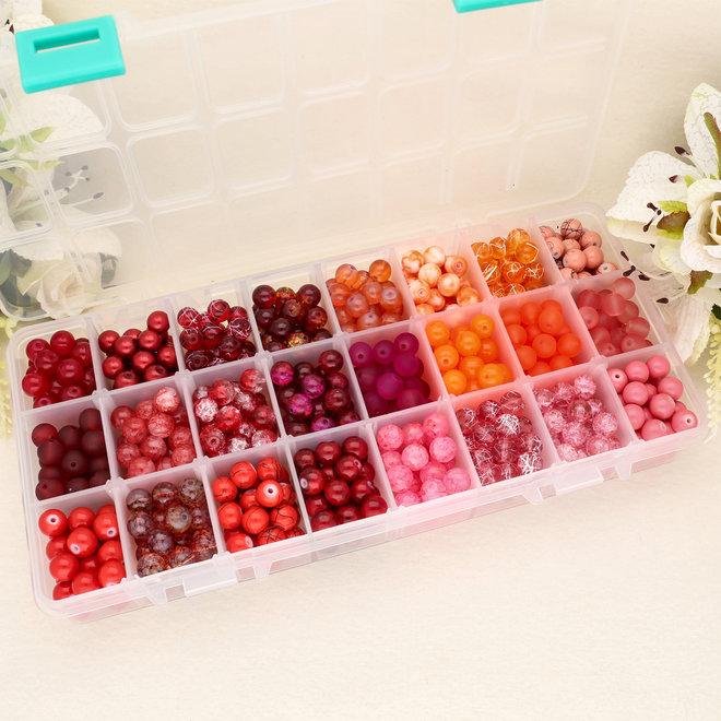 Box mit Sortiment von 24 runden Glasperlen 8 mm - Red mix