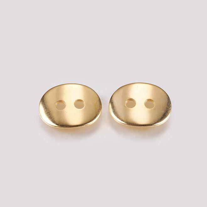 304 Edelstahlknopf, oval, goldfarben