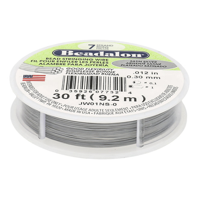 7-fadiges Beadalon-Stahlkabel (0.30 mm) - Satin Silver - 9,2 m Spule