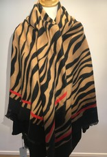 Square scarf zebra print, black and camel with red stripe