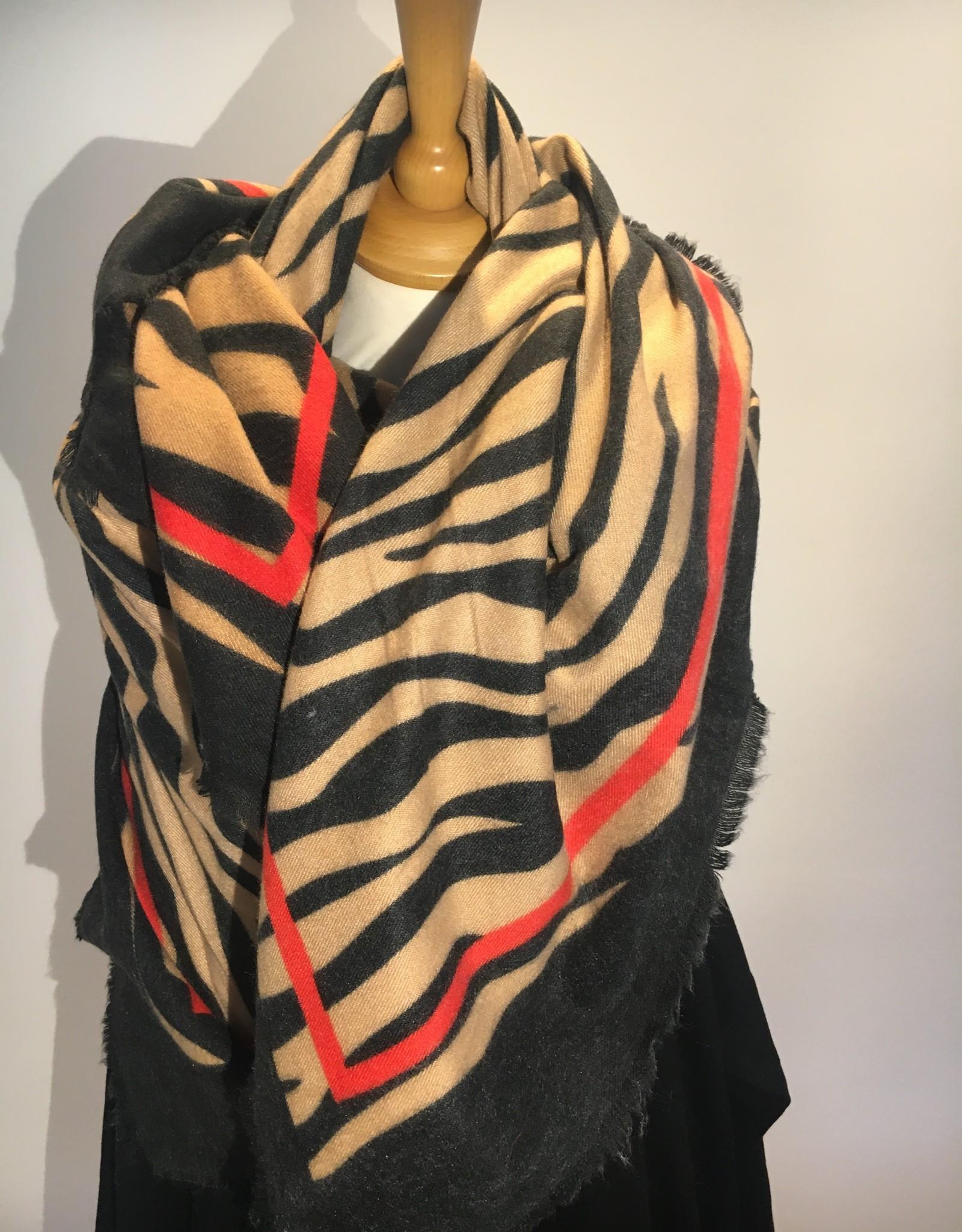 Vierkante sjaal zebraprint, camel en zwart met rode streep