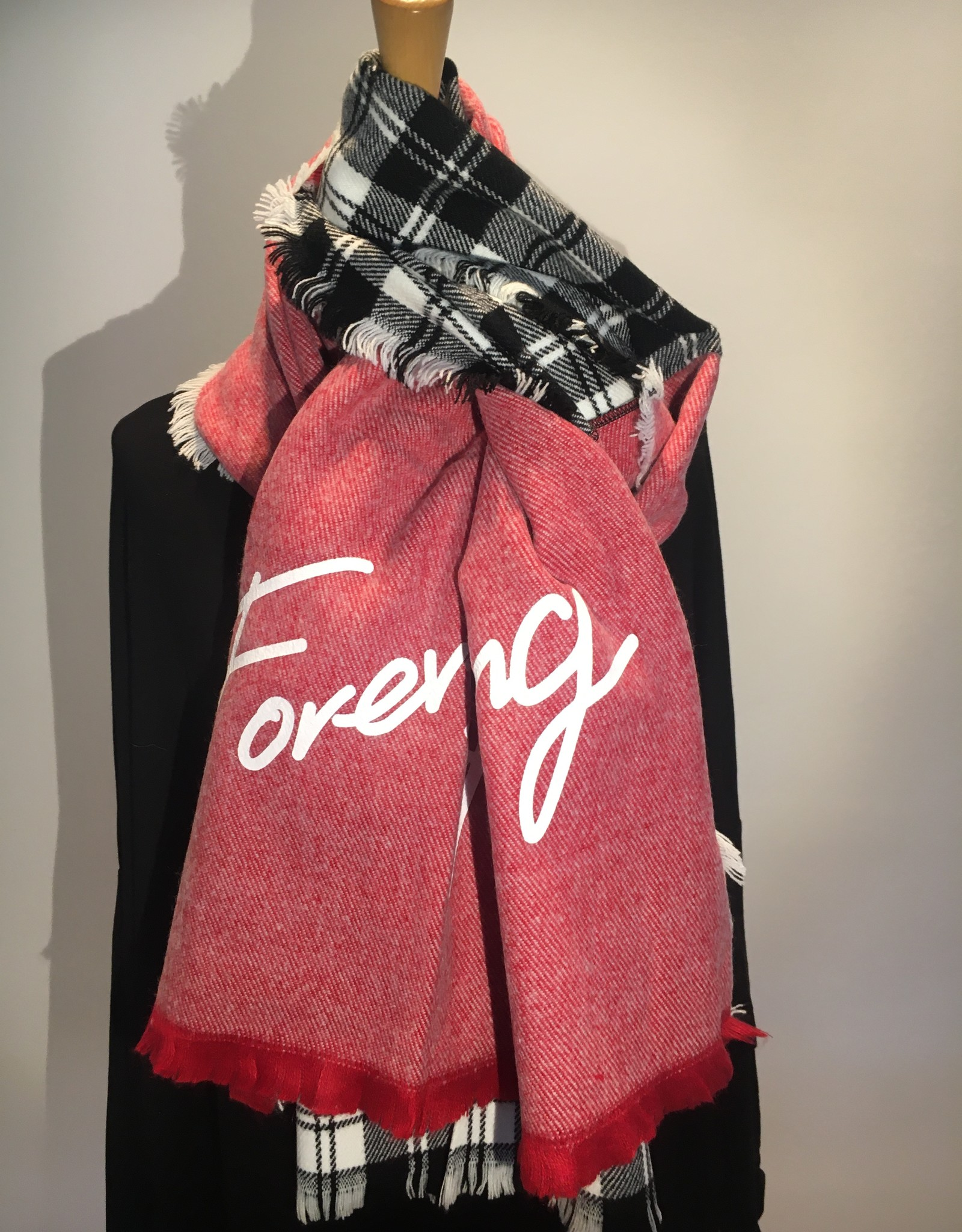 """Scarf  in two styles, two different colors, black and white and red on the other side with text """" forever young"""""""