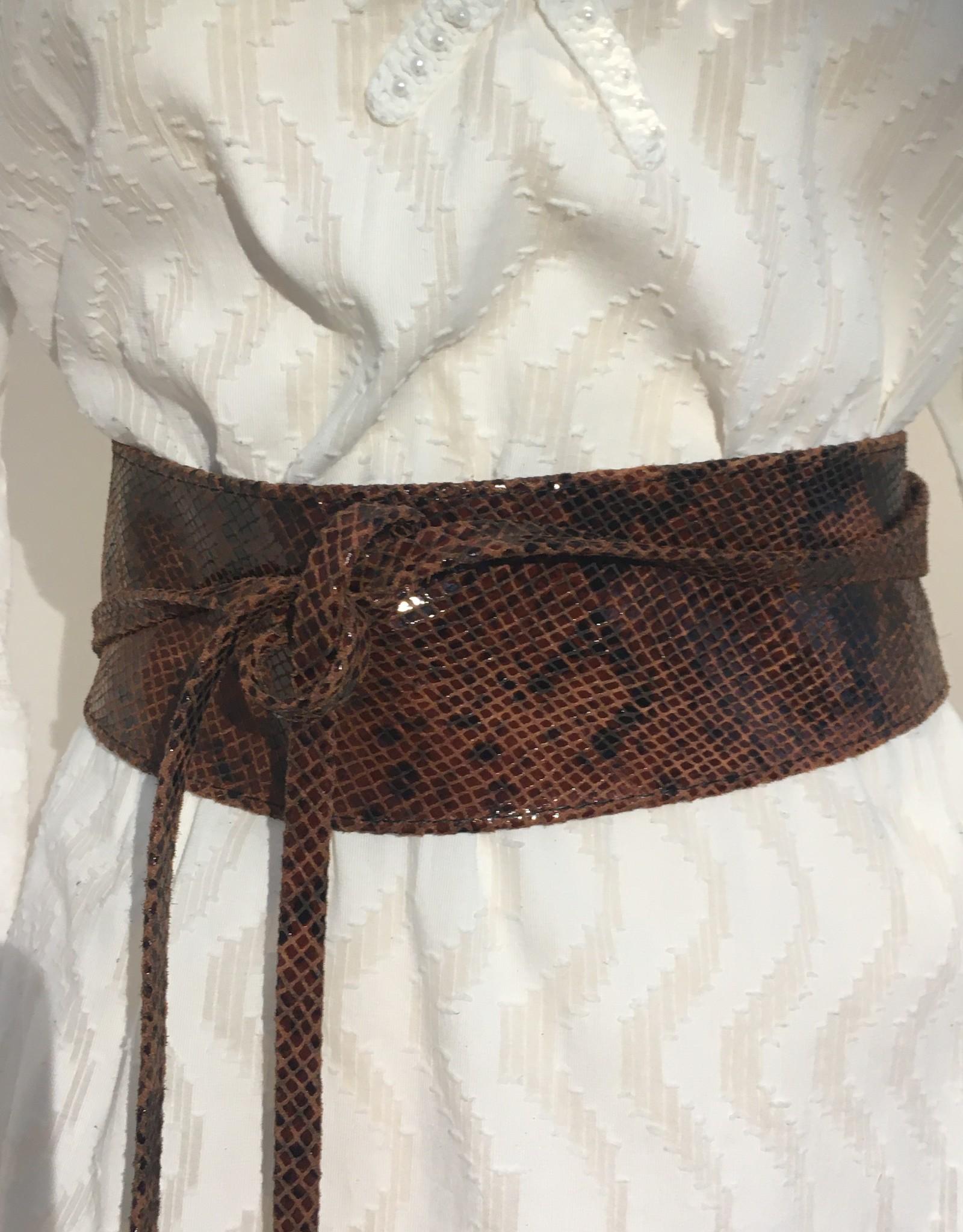 Giuliano Wide soft leather belt, croco snake print