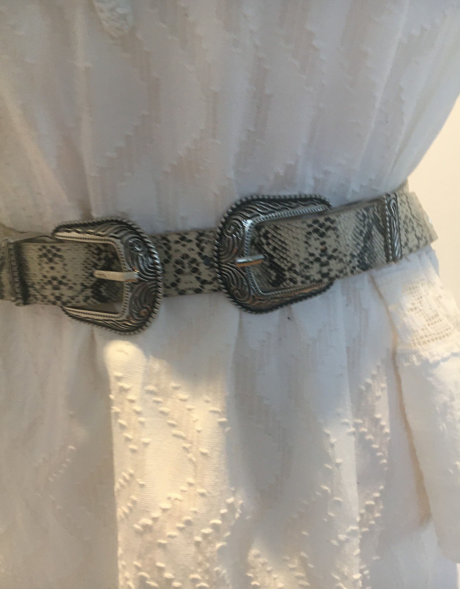Belt, cowboystyle, snake print with 2 buckles