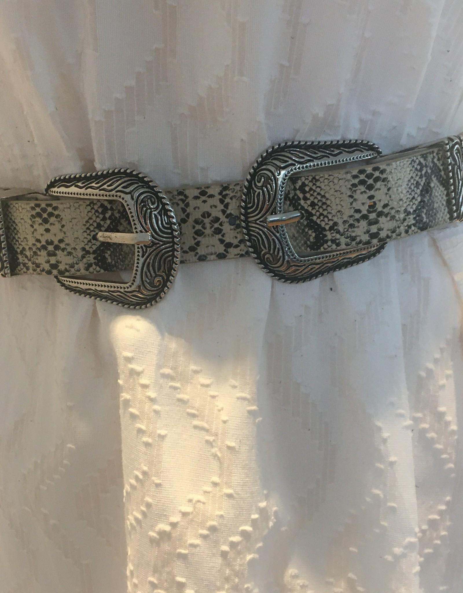 Riem type cowboystyle, slangenprint met dubbele gesp