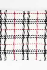 Sjaal wit met zwart/rood geruit