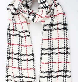 Scarf white with black/red checkered