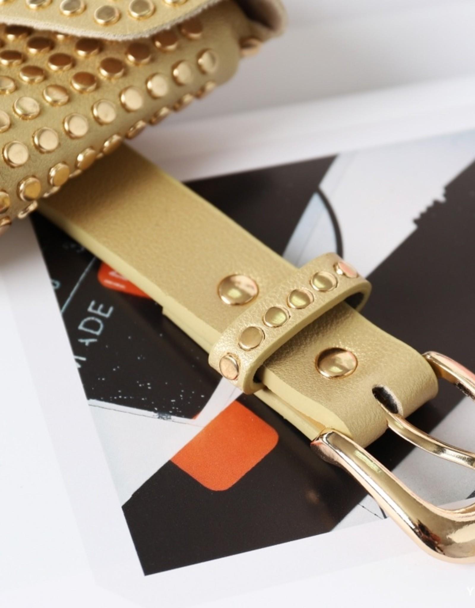 Buideltasje met studs ideaal om weg te gaan, verkrijgbaar in zwart en goudkleuring