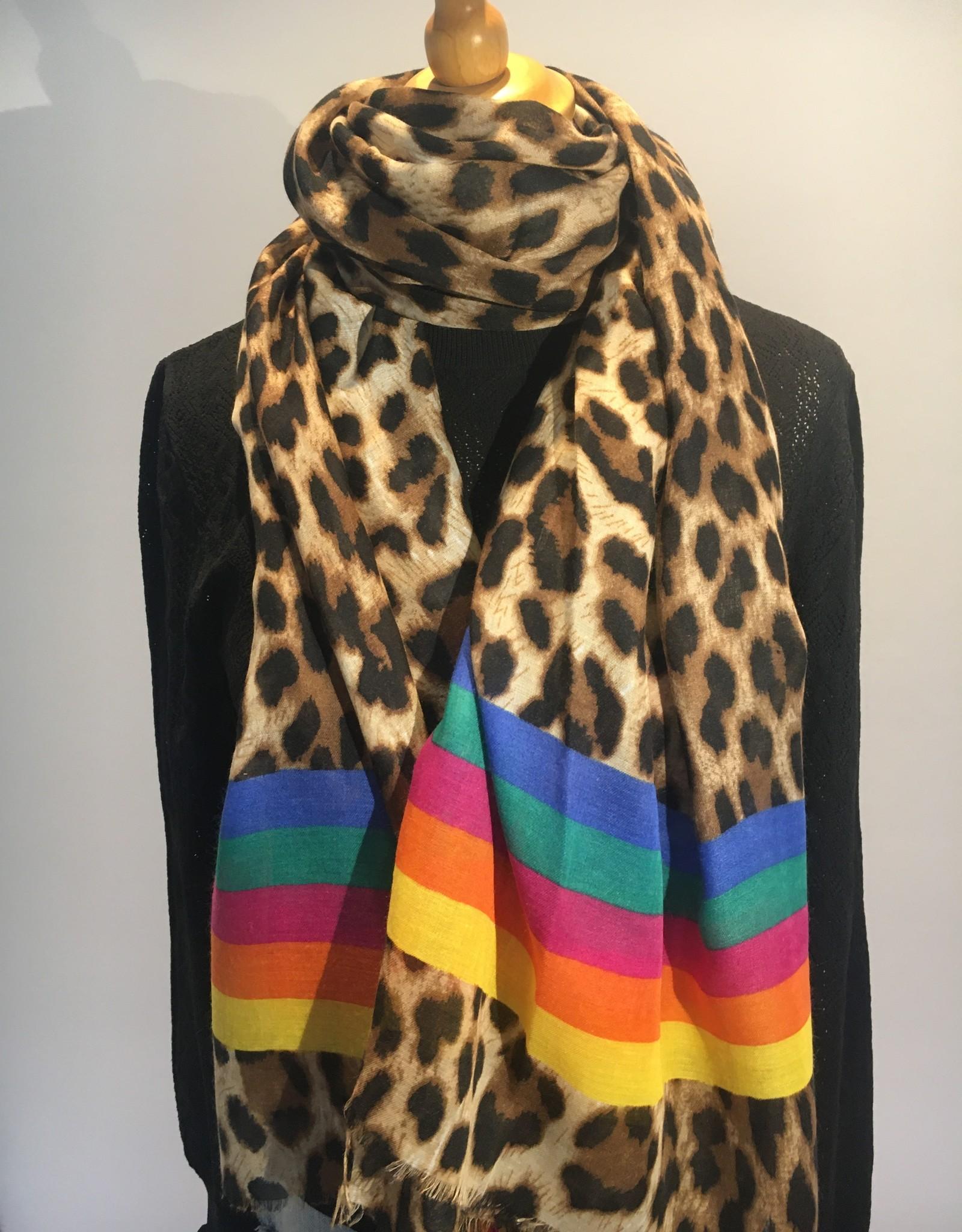 Scarf leopardprint with rainbowstripes