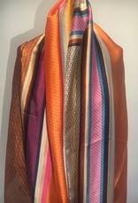 Satin scarf, color blocking