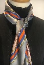 Bandana in satin, grey, orange and blue