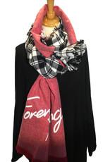 """Sjaal in twee stijlen, zwart/wit geruit en andere kant rood met opschrift """" forever young"""""""