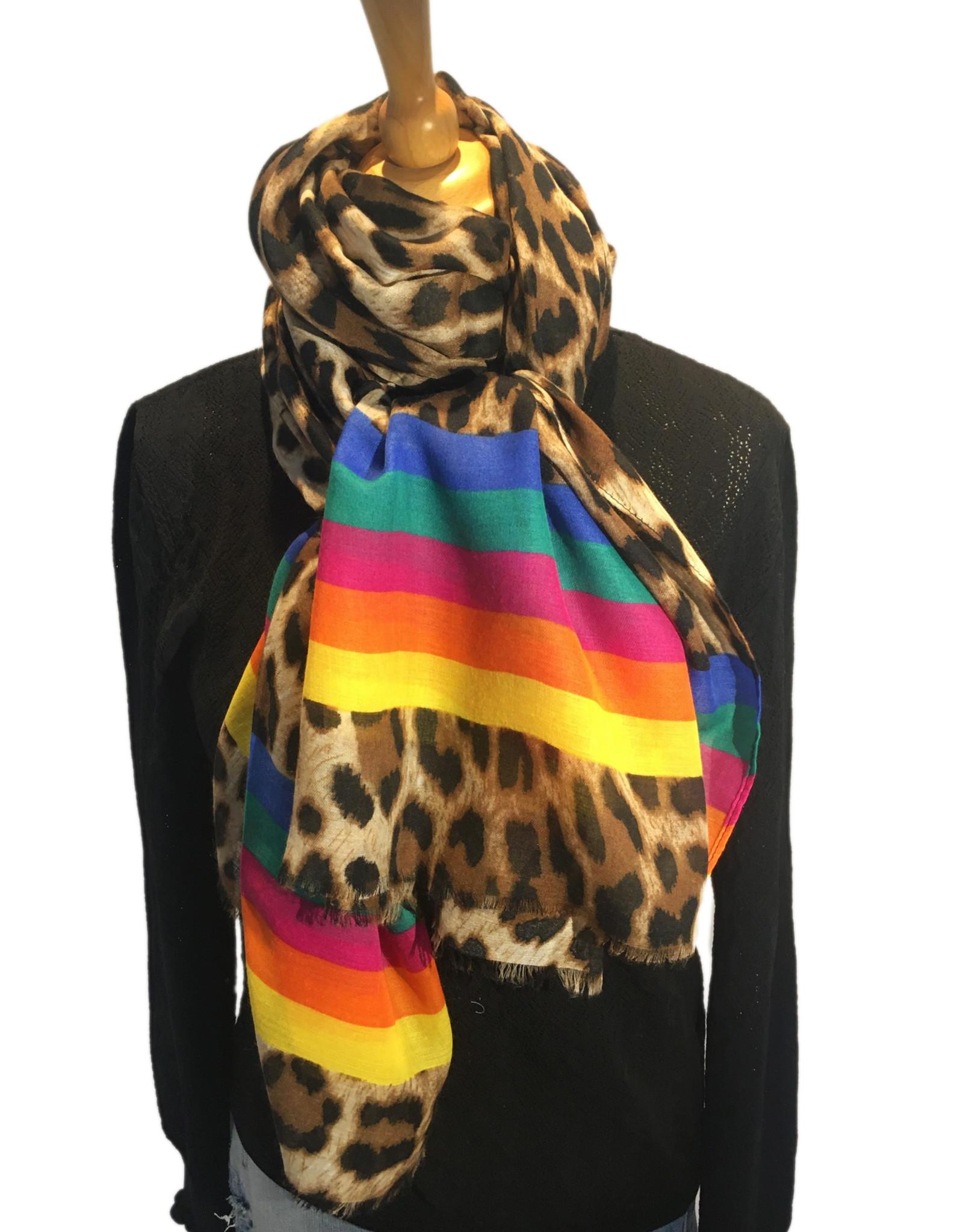 Sjaal panterprint met rainbowstrepen