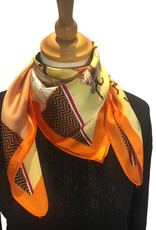Bandana in satijn, oranje met print