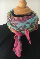 Pastelkleurige sjaal met print